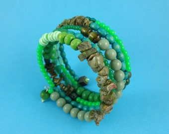 Green Memory Wire Bracelet - stacked coils bangle, mixed beads, shades of green, wrap around bracelet, boho bohemian, hippy folk tribal fun