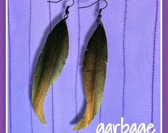 Gold Ombre Vegan Leather Upcycled Raven Feather Earrings
