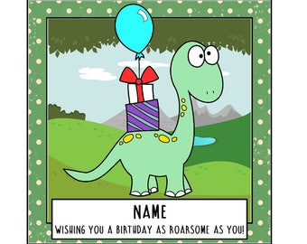 Dinosaur birthday card, personalised card, Jurassic park, dinosaur greetings, dinosaur card, funny dinosaur card, son card, daughter card
