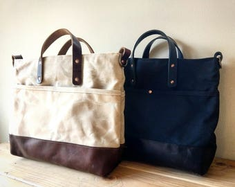 Mystery Bay - Waxed Canvas Zip Top Tote with Leather Bottom, Grab Handles, and Adjustable Cross Body Strap