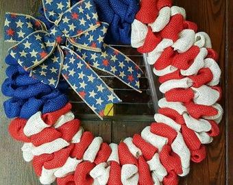 American Flag, Burlap Flag, American Flag Wreath, Burlap American Flag, American Wreath, Flag Wreath, Fourth of July, 4th of July Wreath,