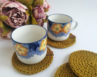 Round coasters set, Table decor, Cup Coasters, Knitted Cup Pad,  Housewarming Gift,  Bar Glass Mats, Mustard coasters, crocheted coasters