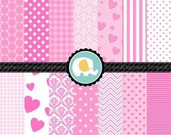 Digital Paper - Baby Pink Digital Paper Pack - Instant Download - Commercial Use