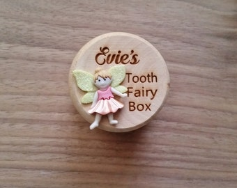 Personalised wooden tooth fairy box,  first tooth wooden box