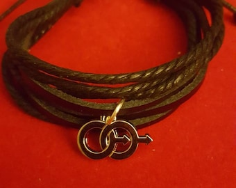 Silver Charm, Leather Gay Love Bracelet