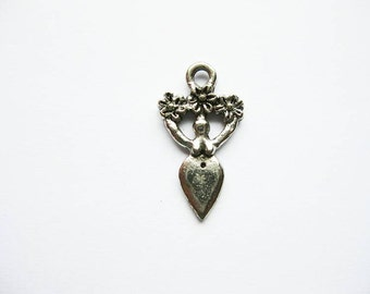 2 Wicca Goddess Charms in Silver Tone - C1040