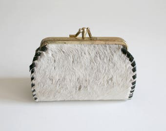 Genuine Fur Kiss Lock Clutch