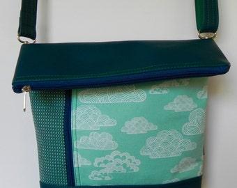 Clouds Zipper Cross Body Vegan Friendly Bag -