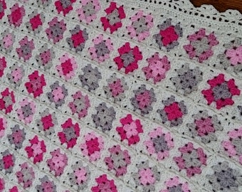 Pink, Cream, Grey and Beige Baby Blanket, Granny Square Crocheted Floral Blanket, Cot Blanket