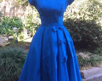 Blue Bombshell 1950's Gorgeous Tafeta Flared Skirt Dress