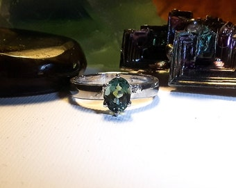 Green Amethyst sterling silver ring, size 6