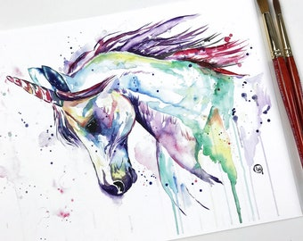 Unicorn Painting, Unicorn Artwork, Unicorn Poster, Nursery Art, Unicorn Print, Unicorn Picture, Rainbow Unicorn, Watercolour, Baby Girl Room