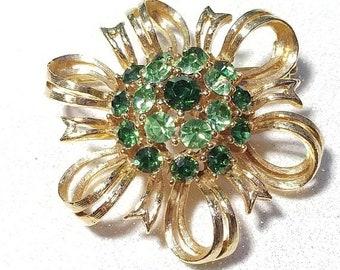 ON SALE  : Vintage Rhinestone Pin Brooch Light Green and Dark Green Goldtone Lisner