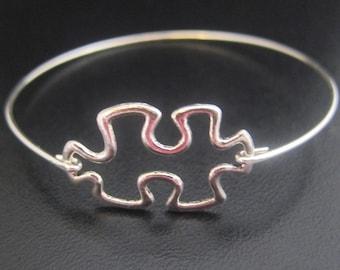 Jigsaw Puzzle Bracelet, Jigsaw Puzzle Jewelry, Jigsaw Puzzle Bangle, Silver Puzzle Piece Bracelet, Puzzle Piece Jewelry, Jigsaw Bracelet