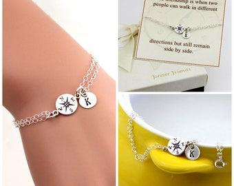 Compass bracelet, personalized compass bracelet, sister bracelet. Journey bracelet. Friendship bracelet. Best friend., gift for her