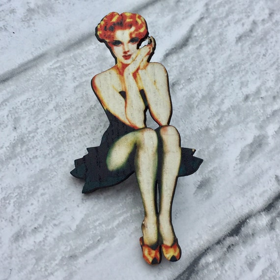 Lolita Pinup Girl Brooch Pin
