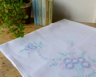 Vintage Linen Tablecloth Hand Embroidered with PastelFlowers 83x89cm