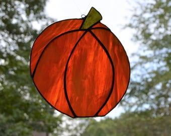 Stained glass orange pumpkin sun catcher 5.5 x 6.5