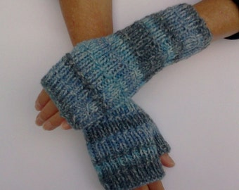 Hand Knit Fingerless Gloves in Blue/Grey. Striped Mittens. Texting Gloves. Comfy Hand Warmers. Gift for her.