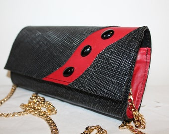 Black leather clutch for women, Red leather clutch Black clutch purse, Evening clutch purse, Italian leather clutch, italian leather purse