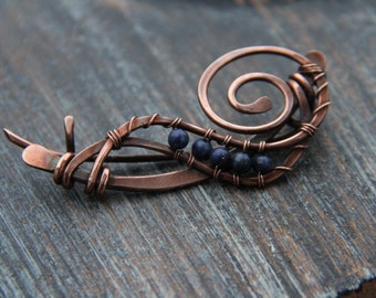 "Shawl pin, scarf pin, brooch copper and lapis lazuli wire wrapped shawl pin, scarf pin, brooch ""Arctic blast"""