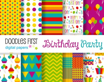 Birthday Party Digital Paper Pack Includes 10 for Scrapbooking Paper Crafts