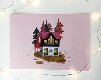Bungalow House Print A5