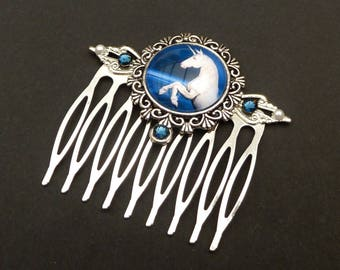 Unicorn hair comb in blue silver fantasy hair jewelry horse gift girl gift idea woman