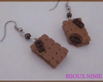 Earrings gourmet chocolate biscuit cookie polymer clay