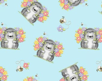 Blue Loving Hedgie Flannel Fabric, Hedgehog flannel, flowers & bees fabric, A.E. Nathan Comfy Flannel, Fabric by the yard