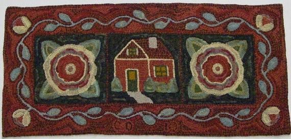 """Rug Hooking Pattern, House and Flowers, 20"""" x 42"""", J610, Primitive Rug Hooking Design, DIY Folk Art Floral Pattern"""