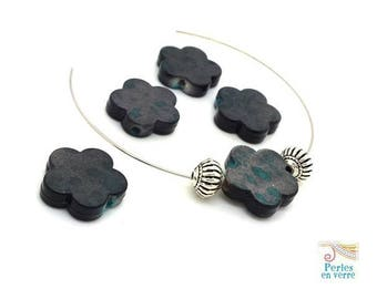 10 pearls flowers effect spots of ink grey and turquoise 15mm (ps47)