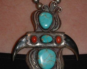 Large Old Pawn Navajo Pilot Mountain Turquoise & Coral Pendant Necklace 76 Grams