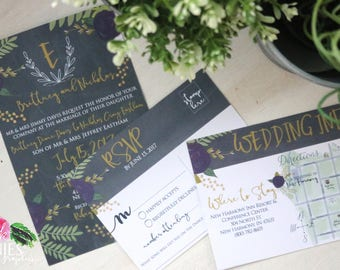 Chalkboard Purple Floral Invitations - Wedding Invitations