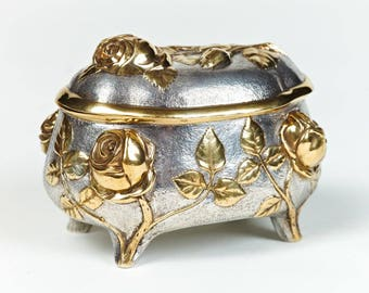 """Silver Jewelry box """"Roses"""""""