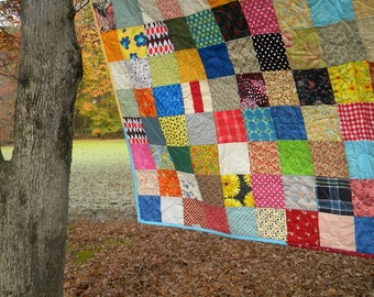 Patchwork Quilt, funky homemade in many sizes, crib, twin, full, queen, king, All cotton blanket, Unique gift for graduation or wedding