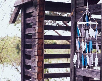 Blue Mobile - Feather Mobile - Dream Catcher Mobile - Baby Mobile - Boho Mobile - Feather Nursery - Boho Nursery Decor -  Baby Shower Gift