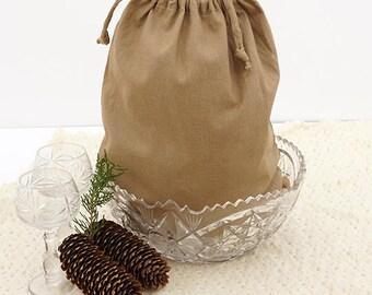 Linen Bread Bag / Linen Drawstring Bag