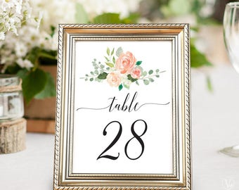 Printable Wedding Table Numbers 1–40, Peach Blush Floral Table Numbers, 5x7 and 4x6 sizes, Peach Blush