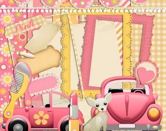 Retro Scrapbook, Pink Car scrapbook, Vw scrapbook, Instant download