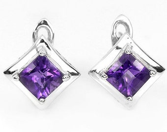 Elegant HANDMADE Earrings with NATURAL Amethyst - 925 Sterling Silver