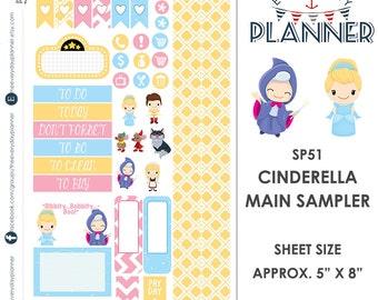 Cinderella Sampler Kit | Over 30+ Kiss-Cut Stickers | Erin Condren and Mambi  | Disney Inspired   SP51