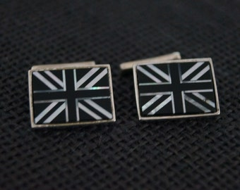 Vintage Sterling Silver Cufflinks - Vintage Cuff links - British Union Jack Cufflinks - Present for Groom - Vintage Cufflinks