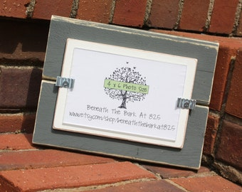 4x6 Picture Frame - Distressed Wood - Holds a 4x6 Photo - Gray and White
