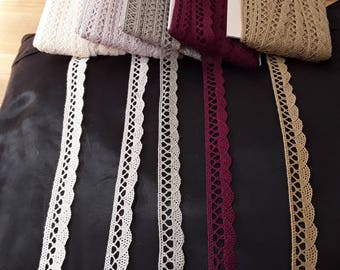 Beautiful pure COTTON CROCHET LACE, trim, edging 18mm. Craft and clothing. 1metre