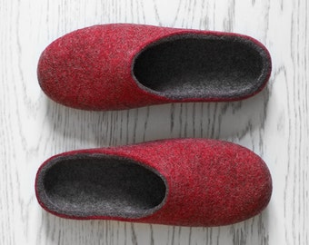 Husband gift Wool slippers Minimalist rustic style felted organic wool dark grey deep red house shoes for men Christmas gift for him