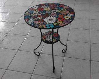 Mosaic table of tiles and beads, in a flower pattern, stainless steel