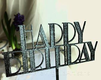 Happy Birthday Cake Topper - Art Deco Cake Topper - Great Gatsby Style -  Great Gatsby Cake Topper