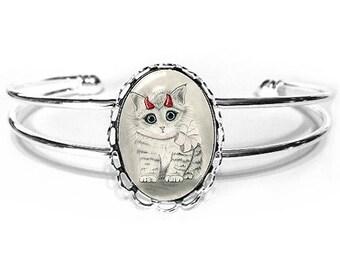 Little Devil Cat Bracelet Cute Devil Kitten Fantasy Cat Art Silver Cat Cameo Bracelet 25x18mm Gift for Cat Lovers Jewelry