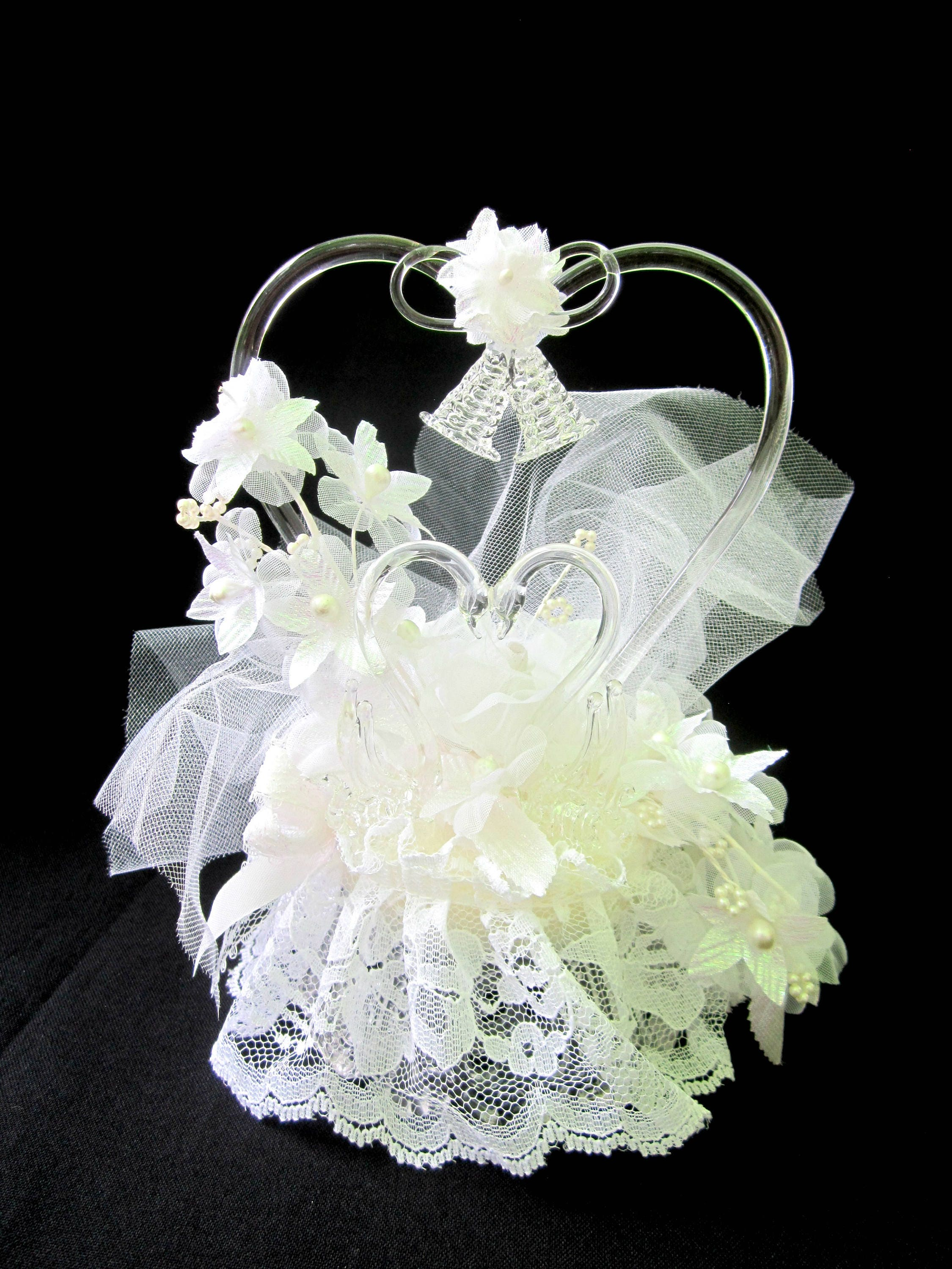 Wedding Cake Topper Vintage Pulled Blown Glass Hearts Swans